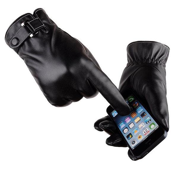 Мужская Женская Теплая Толстая Ветрозащитный Экран Текстовых сообщений Pu Кожа Велоспорт Лыжи Перчатки Full Finger Glove