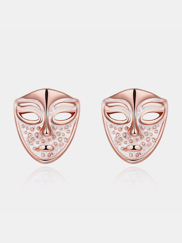 INALIS® Simple Style Rose Gold Mask Oil Drip Unisex Earrings