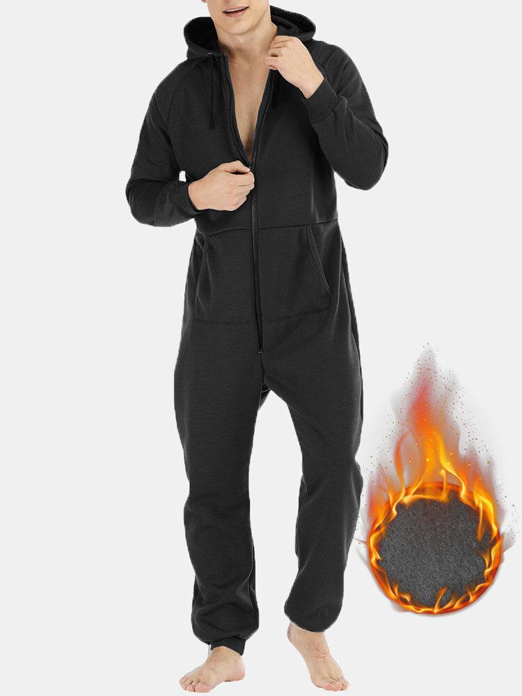 Men Thicken Heated Cotton Loungewear Jumpsuits 2 Ways Zipper Down Liner Fleece Hooded Onesies with Pockets