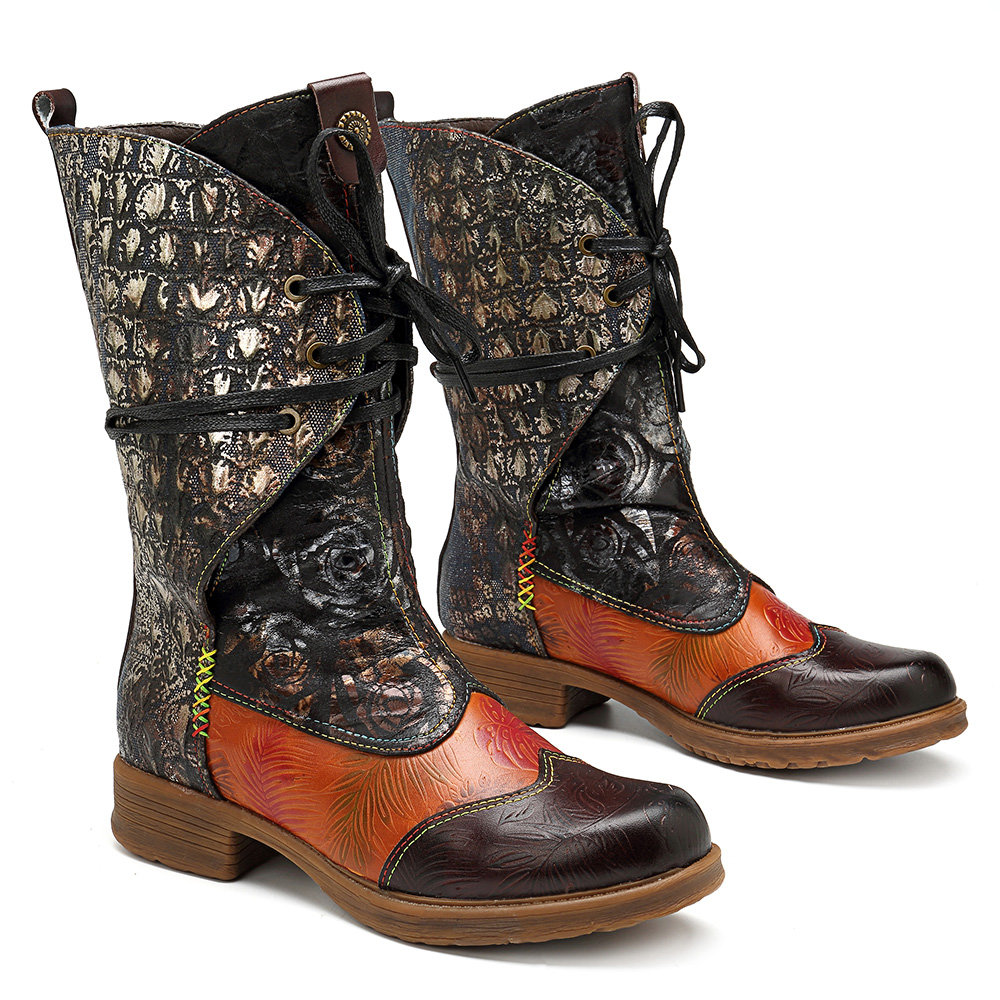 1a7c0d5b0954d SOCOFY Cowgirl Retro Pattern Lace Up Genuine Leather Splicing Comfortable  Flat Boots