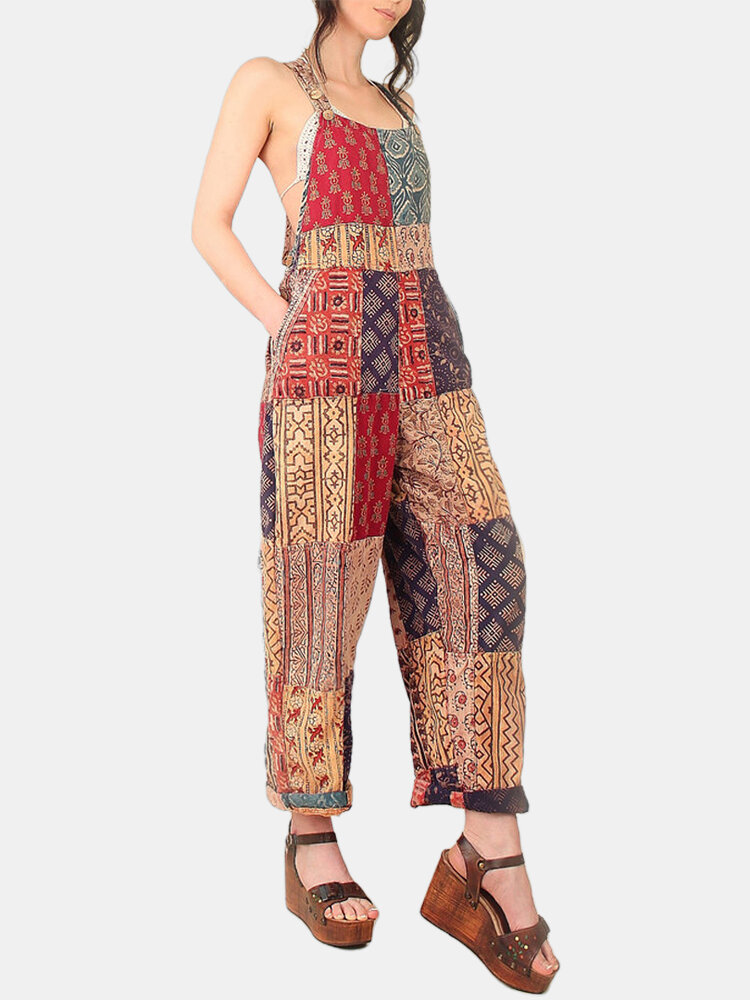 Drawstring Ethnic Print Bohemian Romper For Women