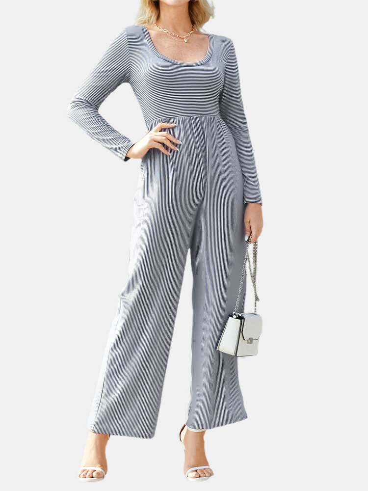 Striped Print Patchwork Long Sleeve Casual Jumpsuit for Women