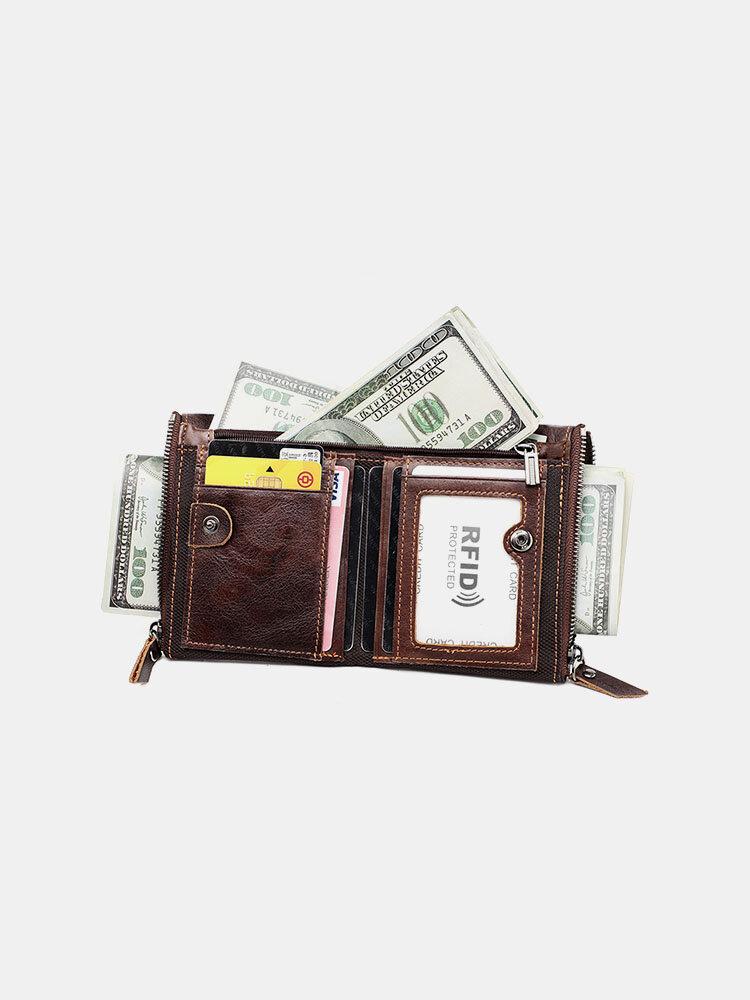 Women Genuine Leather RFID Multifunction Multi-card Slots Retro Money Clip Coin Purse Wallet