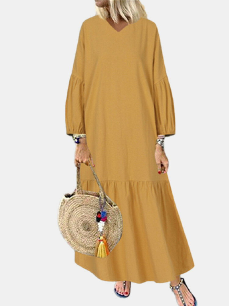 Solid Color Lantern Sleeves V-neck Plus Size Pleated Casual Dress