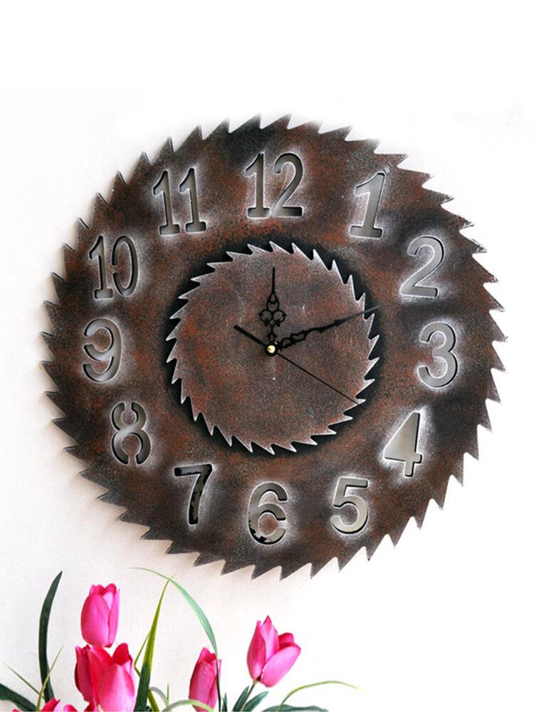 Retro Industrial Wind Wooden Gear Saw Blade Clock Home Bar Wall Sticker Wall Clock Gear Ornament Cl200