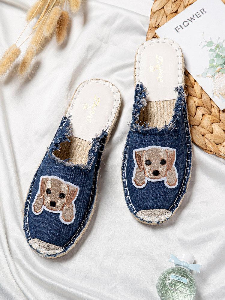Women Dog Pattern Cloth Espadrilles Backless Mules Flats