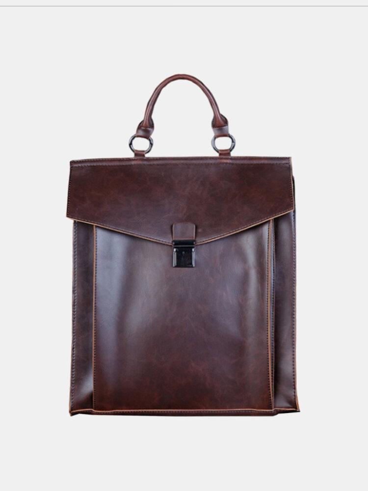 Men PU Leather Retro 14 Inch Laptop Bag Large Capacity Backpack