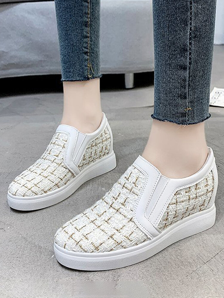 Women Plaid Cloth Loafers Comfy Slip On Casual Increased Heel Wedges Shoes