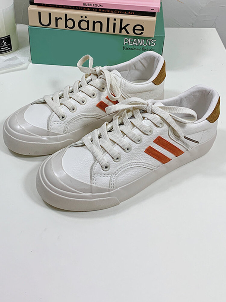 Women Microfiber Leather Lace Up Casual White Flat Shoes