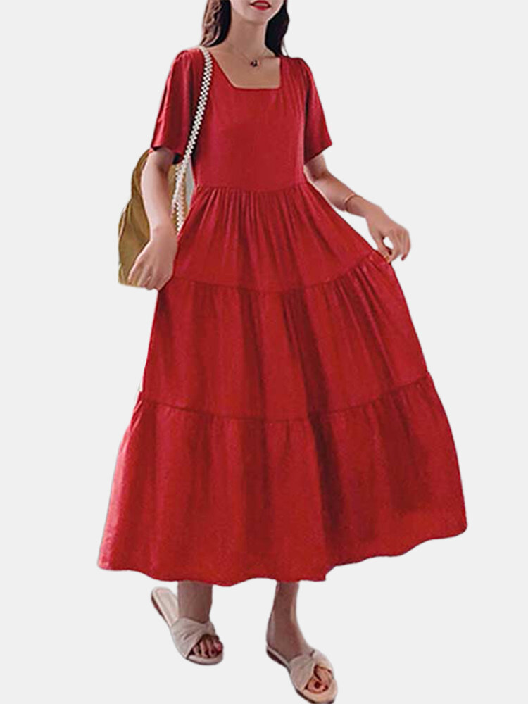 Solid Color Backless Square Collar Short Sleeve Pleated Dress
