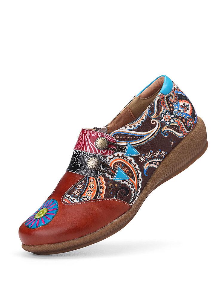 SOCOFY Super Comfy Folkways Retro Pattern Genuine Leather Splicing Jacquard Zipper Flat Shoes