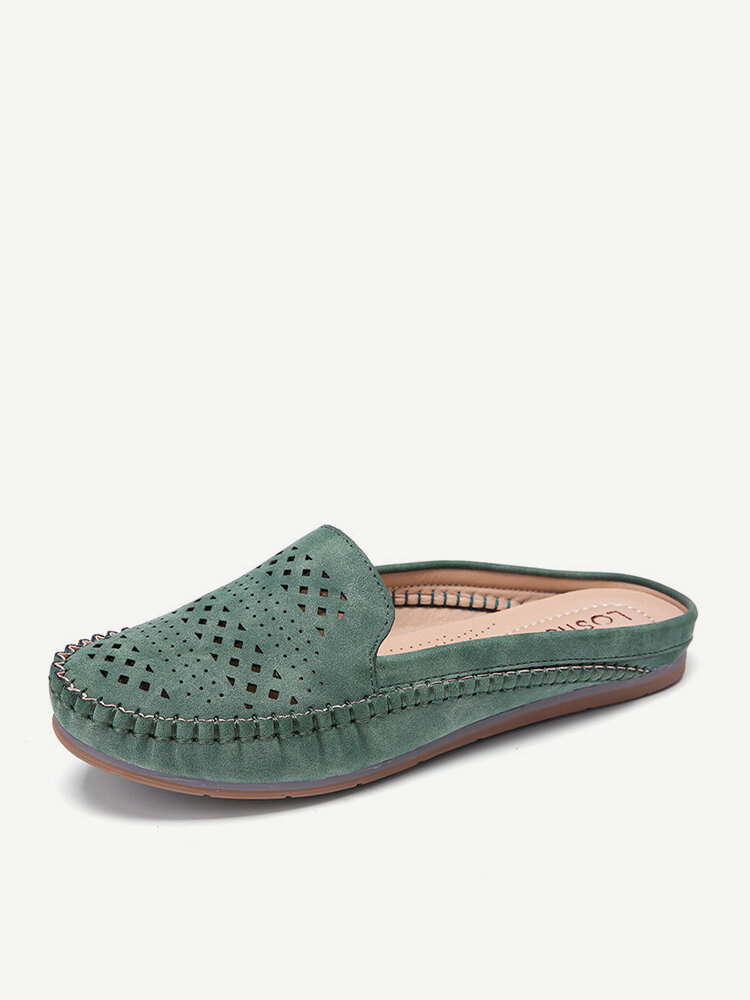 LOSTISY Suede Breathable Hollow Out Solid Color Casual Backless Loafers
