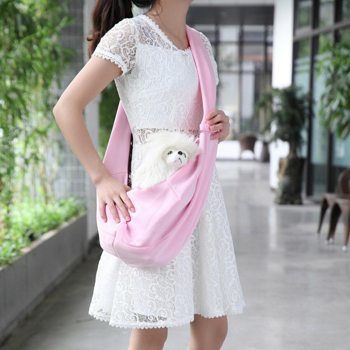 Solid Color Single Shoulder Pet Carrier Sling Bag Travel Bag for Cats Small Size Dogs