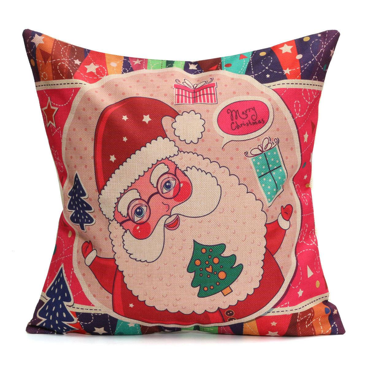 Christmas Santa Cotton Linen Pillow Case Cushion Cover