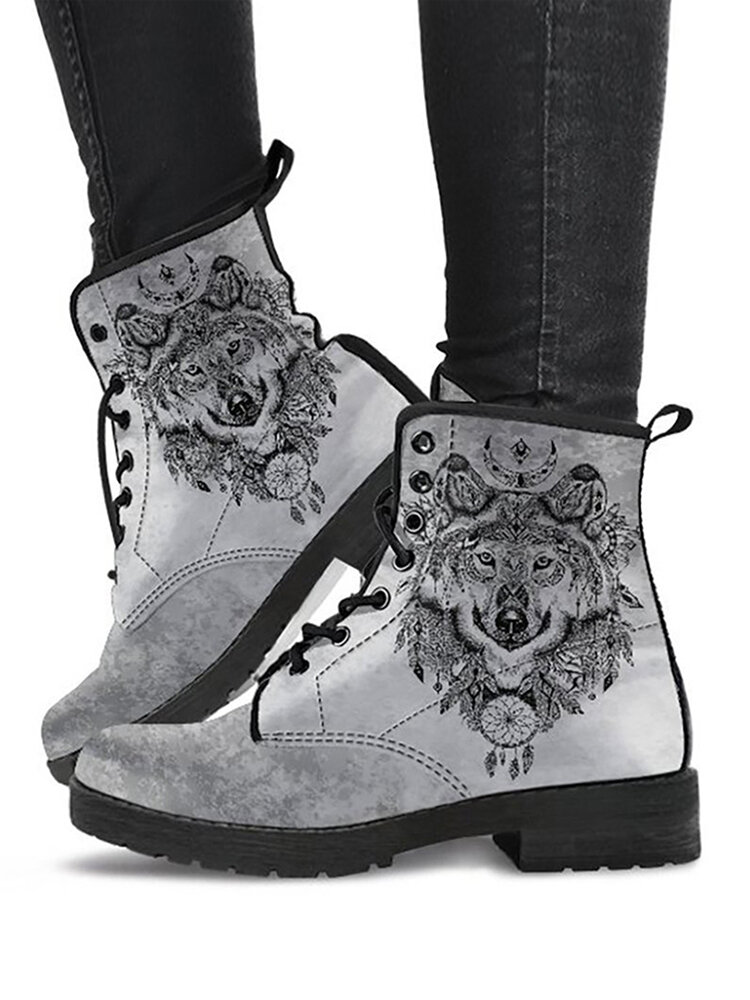 Women Fashion Handsome Cool Gray Wolf Print Casual Tooling Boots