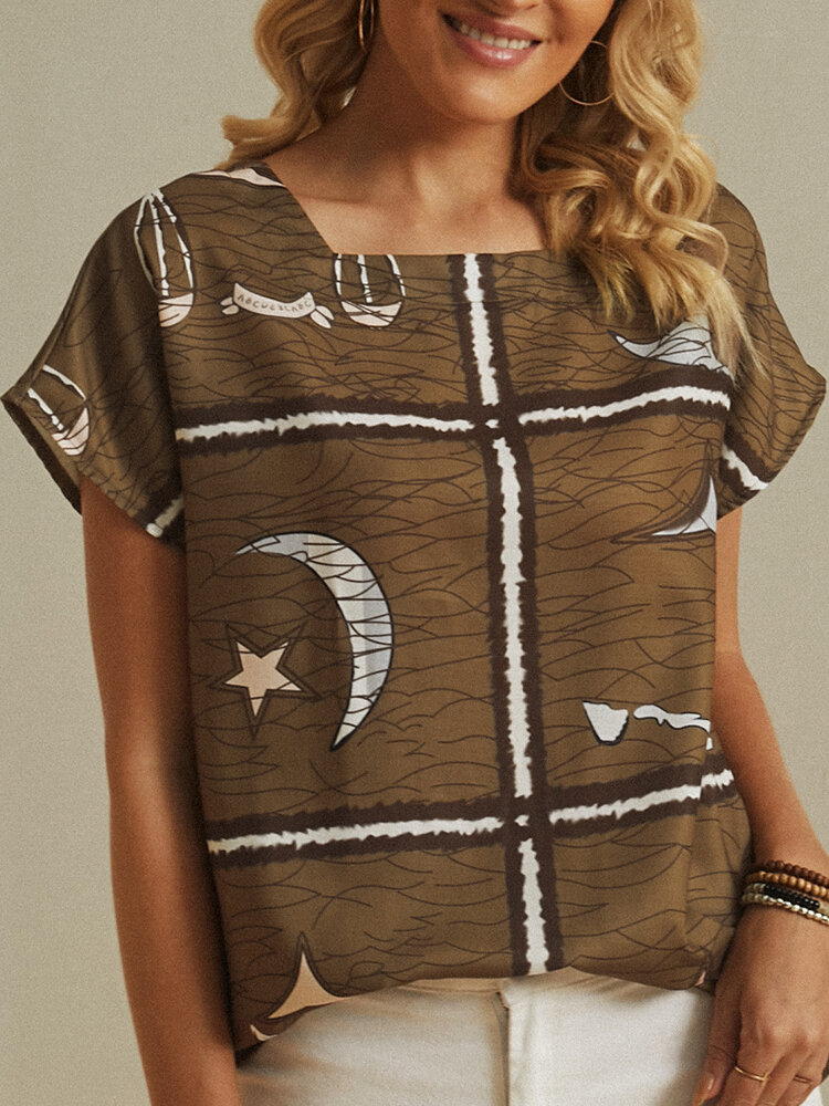 Star Moon Striped Printed Square Neck Short Sleeve Blouse