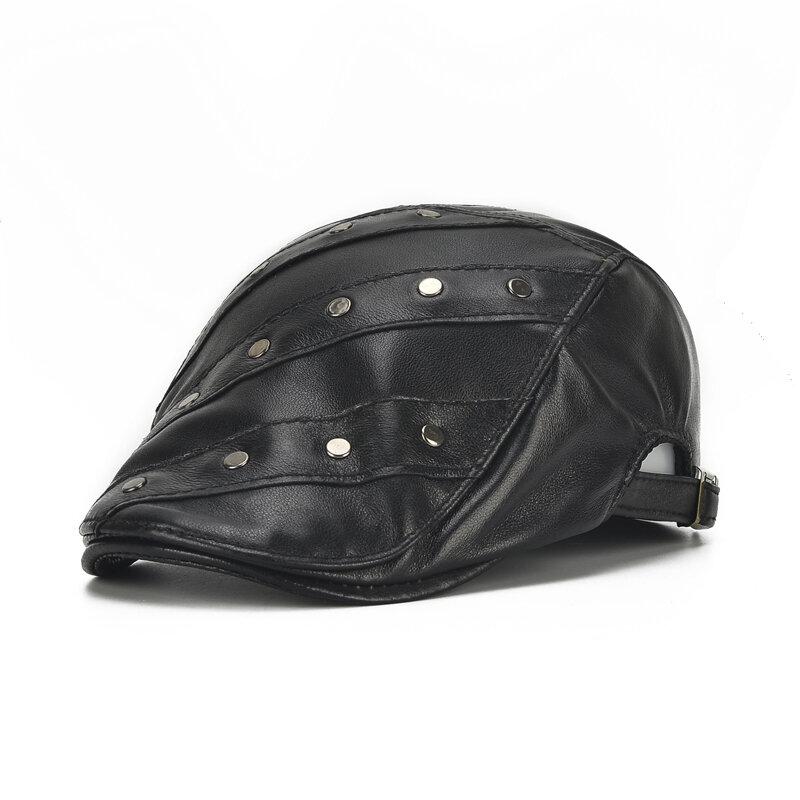 Mens Womens Rivet Leather Beret Caps Casual Outdoor Winter Warm Windproof Duck Hats Adjustable Caps