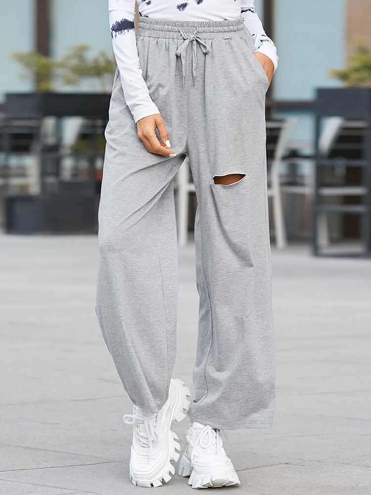 Solid Color Ripped Drawstring Long Casual Sport Pants for Women