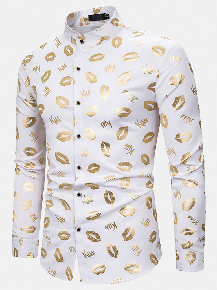 Mens Allover Lips Glitter Print Stand Collar Cotton Party Long Sleeve Shirts