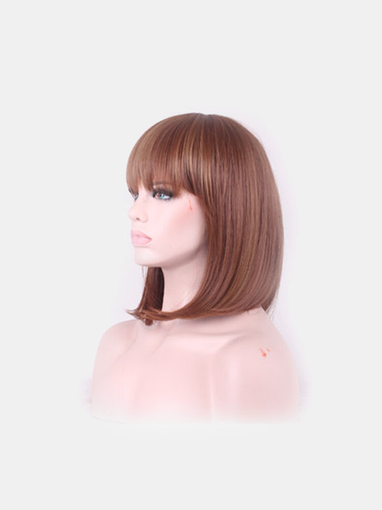 Synthetic Wigs Fashion Female Short Straight Full Fringe Artificial Hair Rose Net  Perm Dyeing Wigs