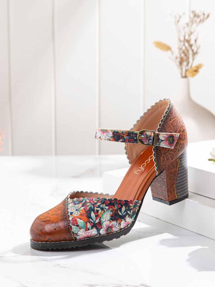 SOCOFY Splicing Floral Printed Cowhide Leather Ankle Strap Comfy Chunky Heel Mary Jane Pumps