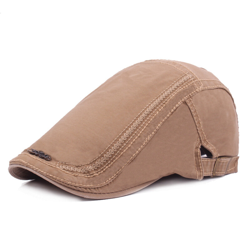 Men Women Washed Cotton Embroidery Iron Label Beret Hat Casual Forward Hat