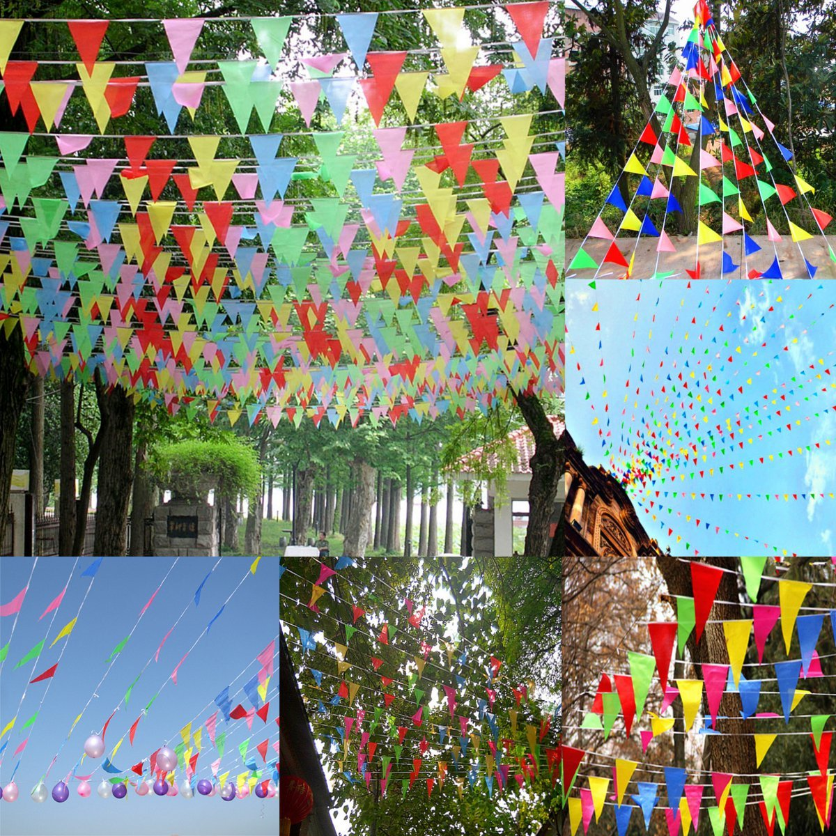125Ft/38M Fabric Pennant Bunting Flags String Banners Wedding Party Garland