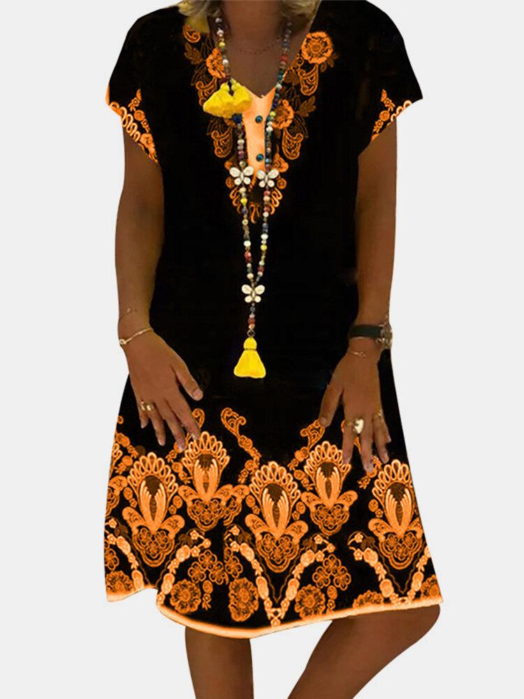 Casual Floral Printed V-neck Short Sleeve Retro Midi Dress