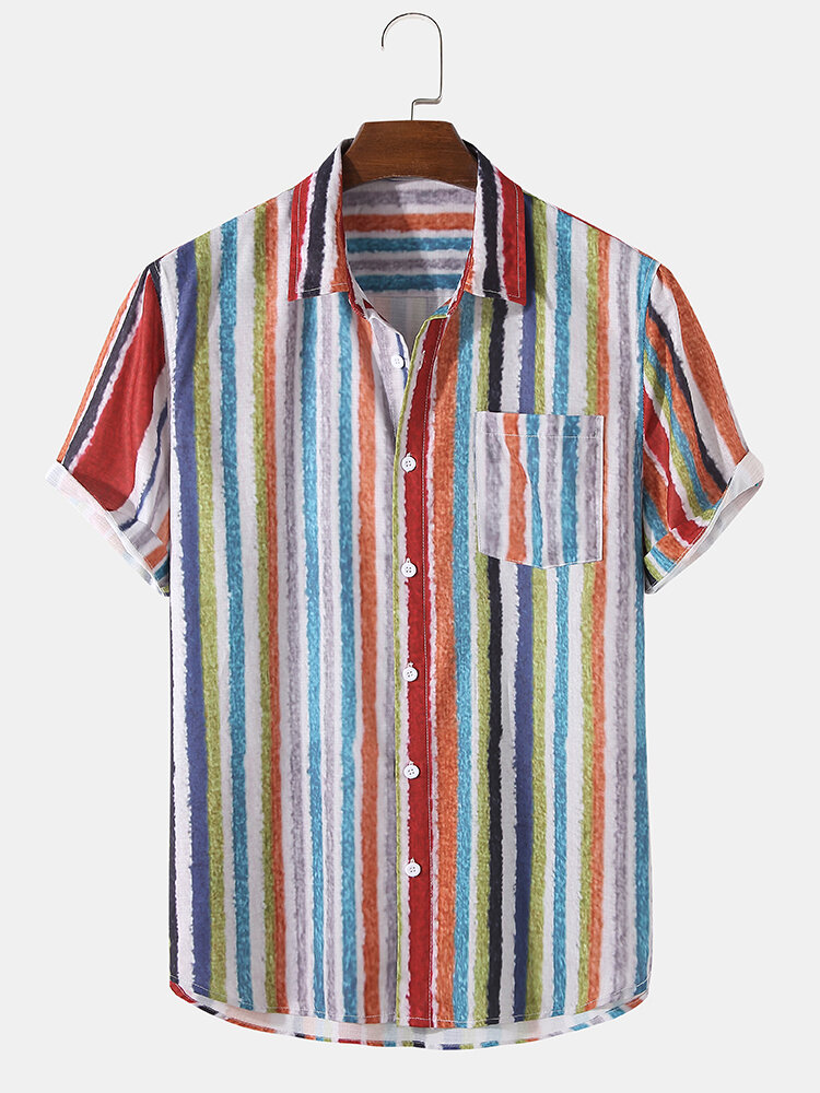 Mens Colorful Striped Button Up Holiday Short Sleeve Shirts With Pocket