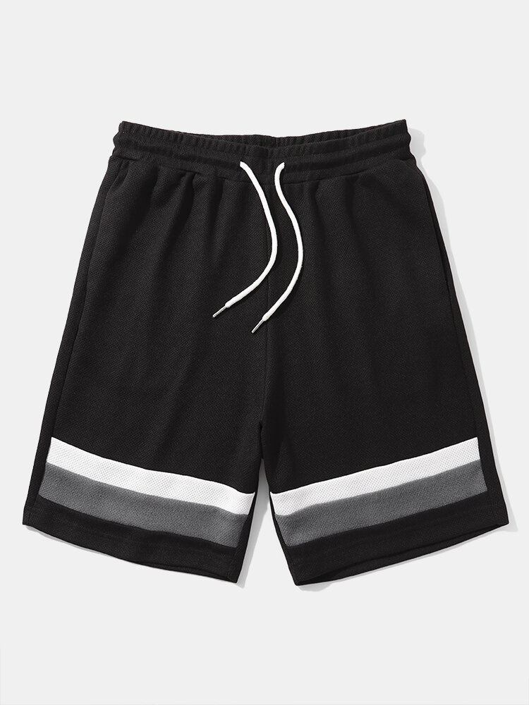 Mens Contrasting Color Knitted Street Black Shorts With Pocket