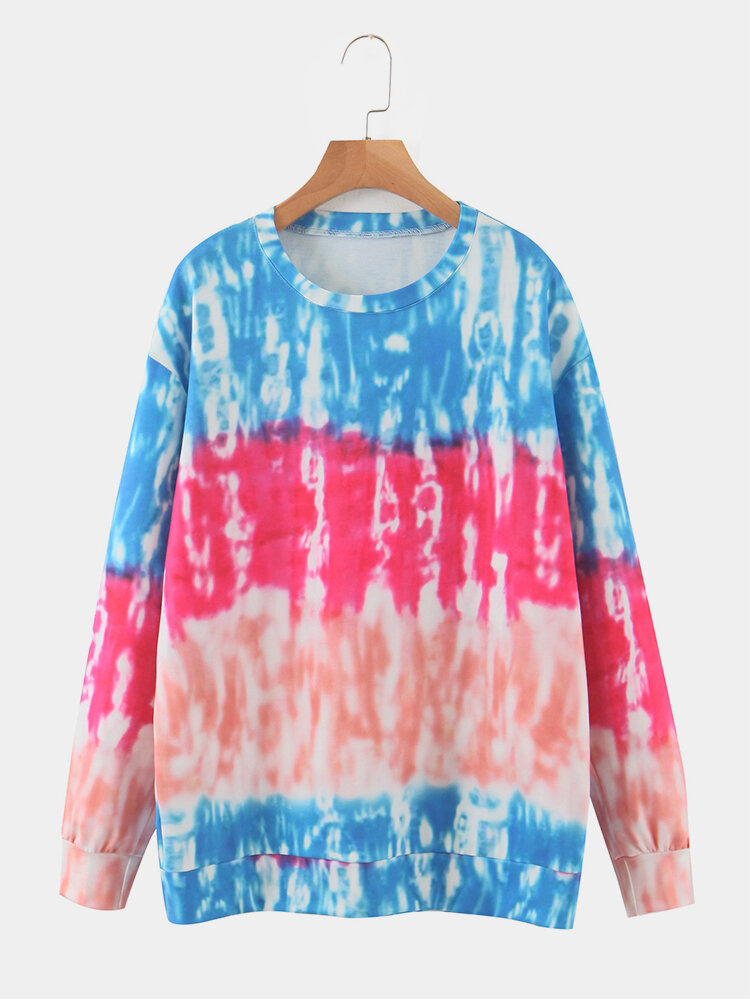Color Block Long Sleeve Tie Dye Printed O-neck Sweater