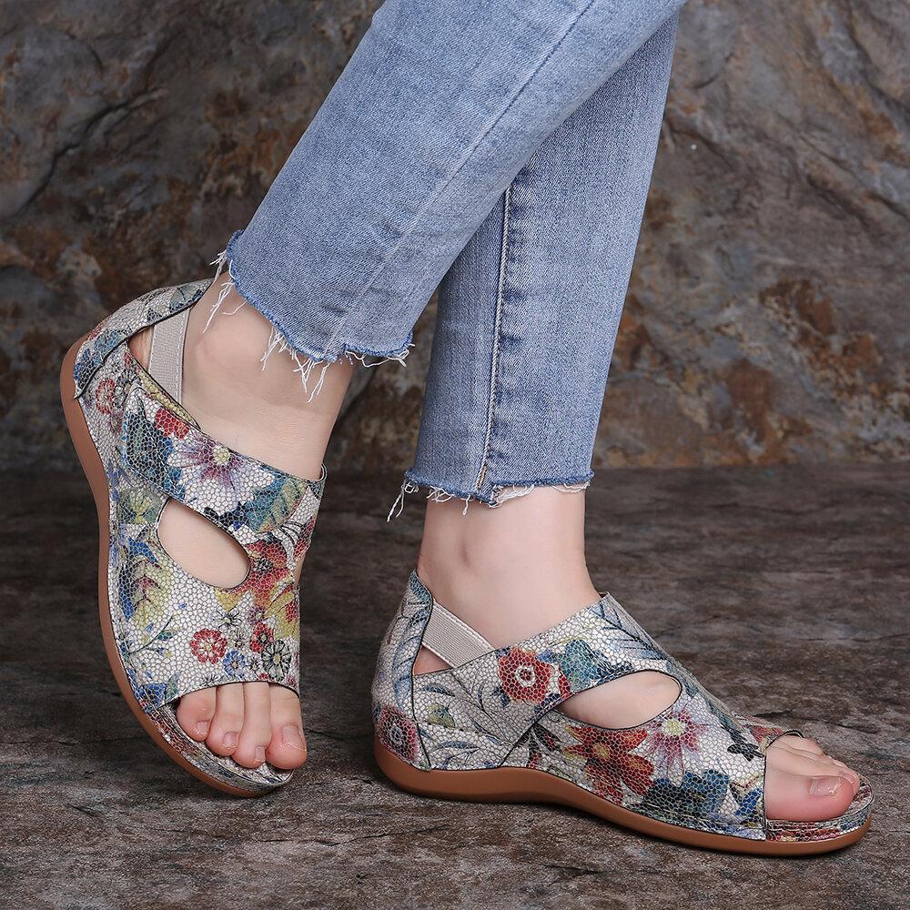 501a3b7f59a LOSTISY Large Size Hook Loop Flower Pattern Adjustable Summer Sandals