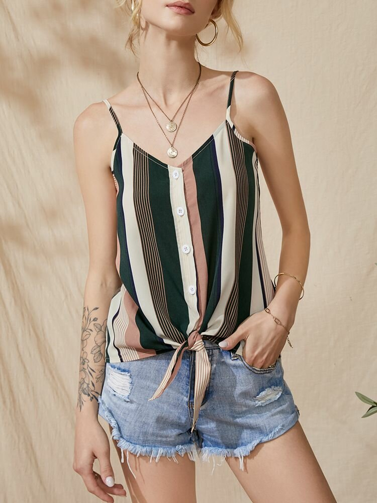 Multi-color Stripe Strap Knotted Button Backless Cami