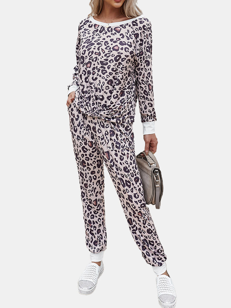 Leopard Print O-Neck Long Sleeve Pocket Causal Suit For Women