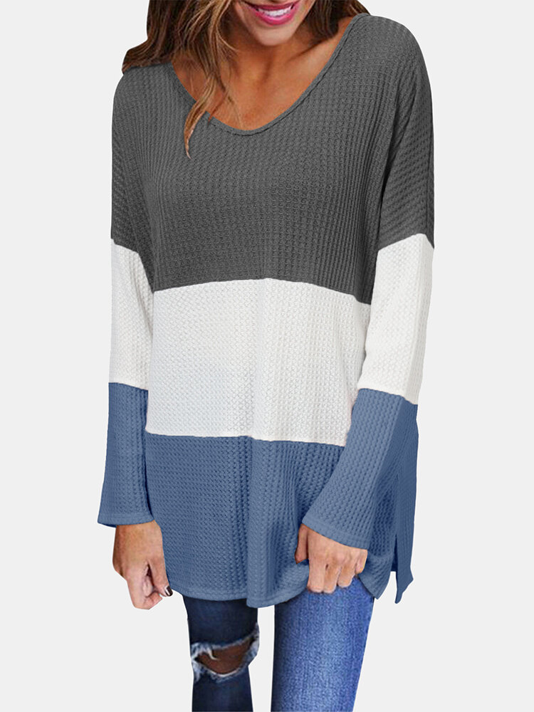 Contrast Color Long Sleeve V-neck Patchwork Sweater For Women