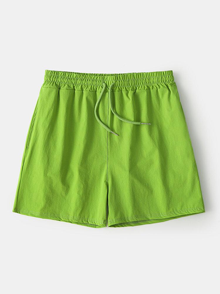 Pantalones cortos deportivos para correr con cordón casual de secado rápido de color puro para hombres