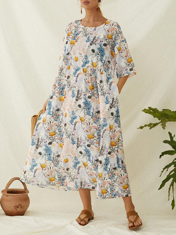 ポケット付き花柄半袖プラスサイズのヴィンテージドレス