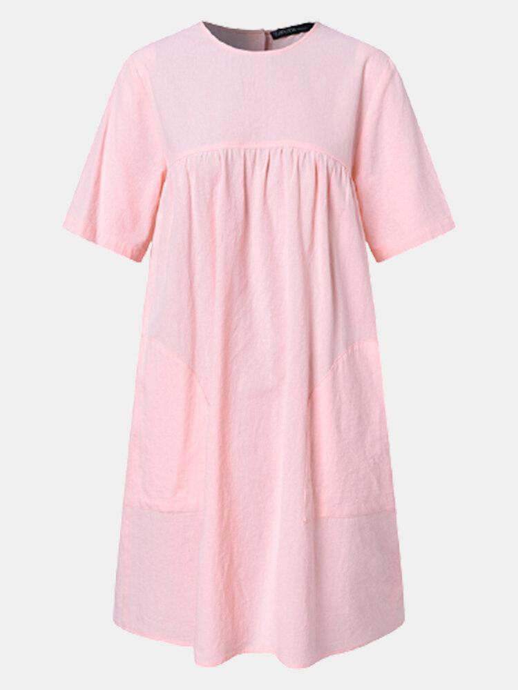 Einfarbiger Knopf Kurzarm Plus Größe Casual Kleid mit Taschen