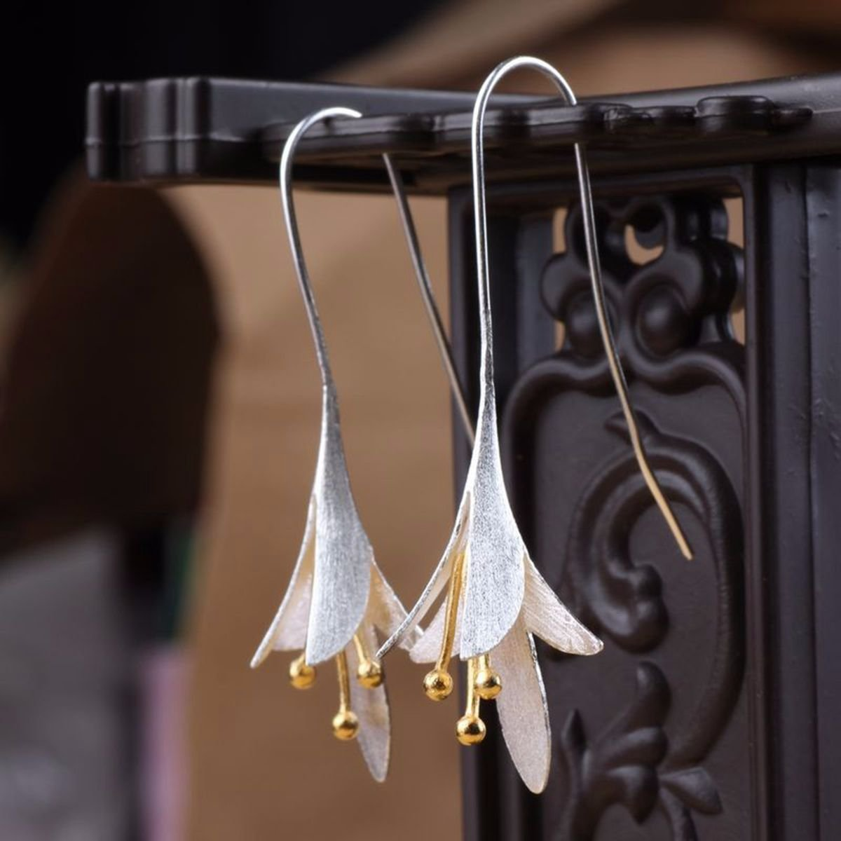 925 Sterling Silver Vintage Earrings Magnolia Long Flower Dangle Earrings Ethnic Jewelry for Women