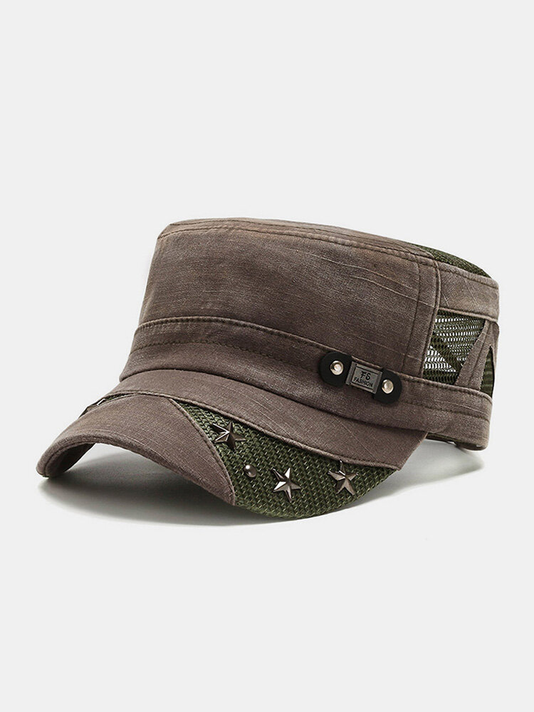 Men Washed Distressed Cotton Mesh Patchwork Stars Rivet Decoration Breathable Sunscreen Military Hat Flat Cap