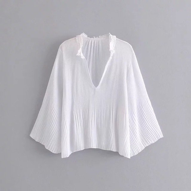 Season New Solid Color Pleated Temperament Light V-neck Edging Top Fashion Irregular Long-sleeved Blouse