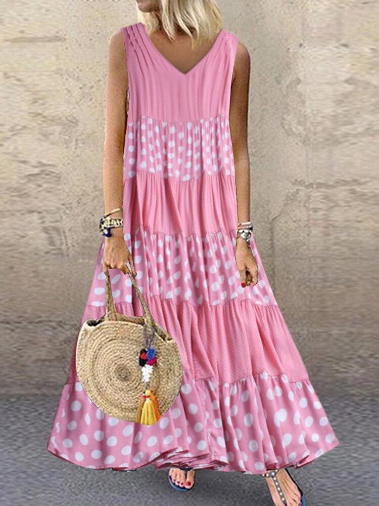 Polka_Dot_Patchwork_Vneck_Sleeveless_Summer_Plus_Size_Dress