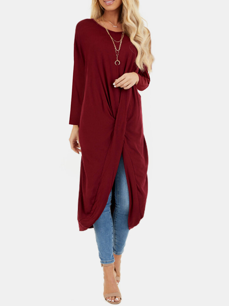 Solid Color Long Sleeve O-neck Pleated Asymmetrical Midi Dress For Women