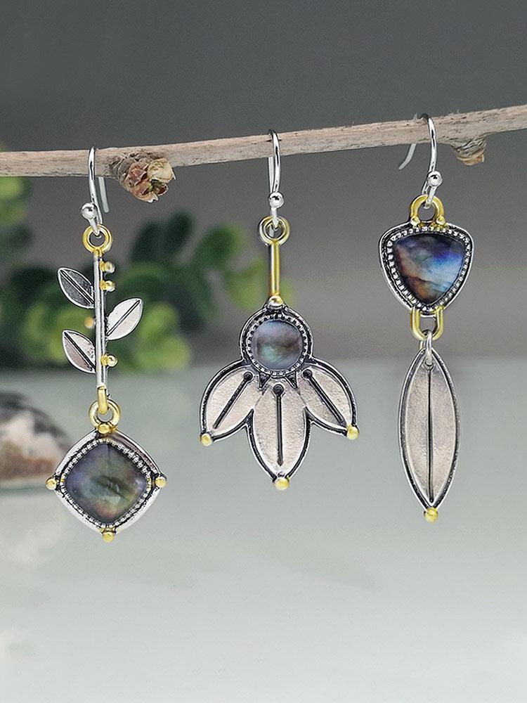 S925 Alloy Geometric Tree Leaf Labradorite Free Combination Asymmetric Earrings