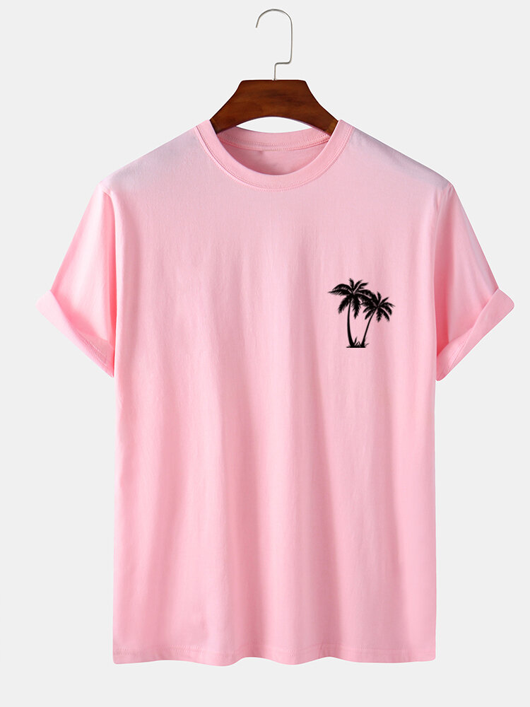 Mens 100% Cotton Coconut Tree Chest Print Holiday Short Sleeve T-Shirts