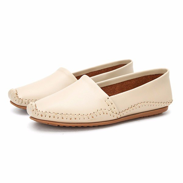 Pure Color Slip On Casual Soft Comfortable Round Toe Flat Loafers