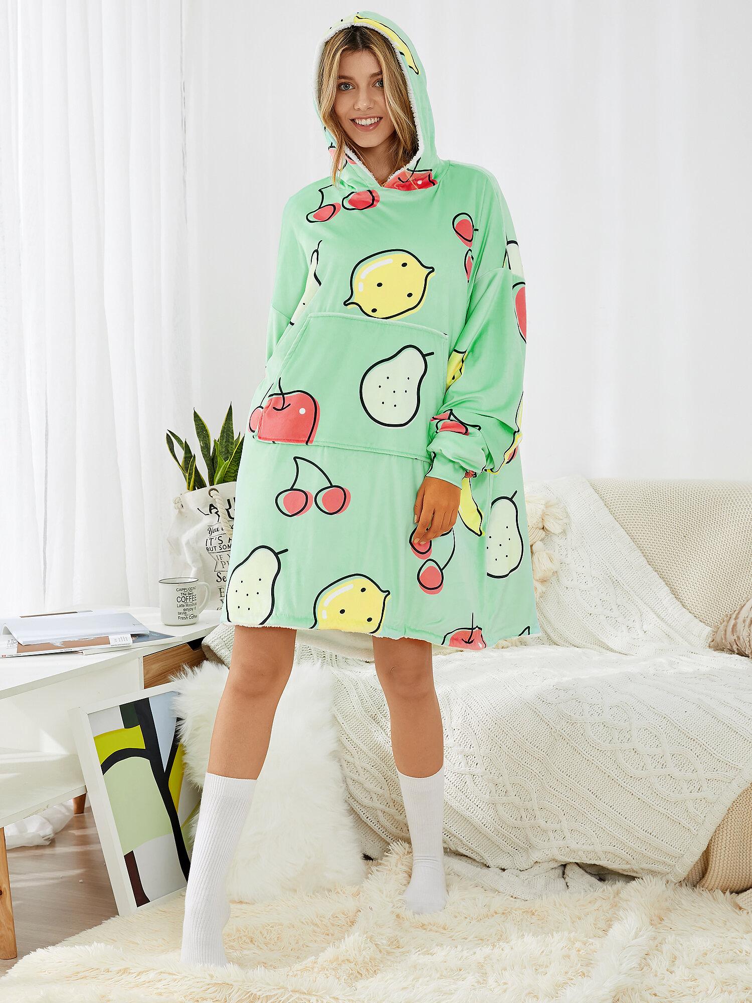 Women Cartoon Fruit Print Thick Sherpa Lined Robe Double-Faced Wearable Blanket Hoodie Oversized Sweatshirt With Kangaroo Pocket