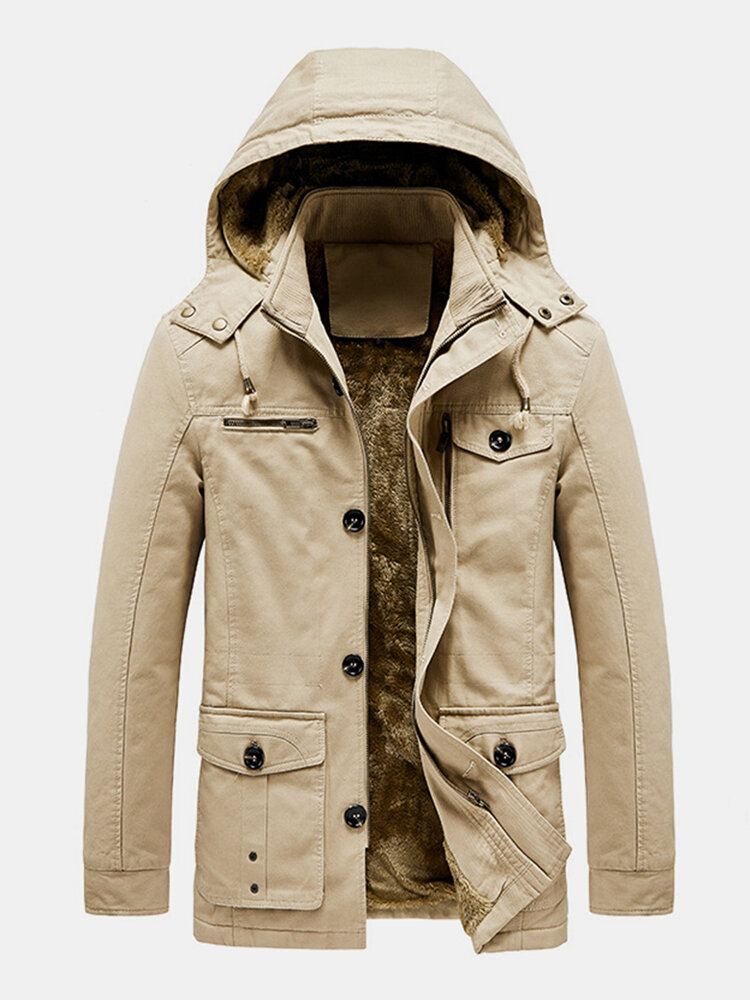 Mens Fleece Lined Thicken Cotton Button Detail Warm Parkas With Removable Hood