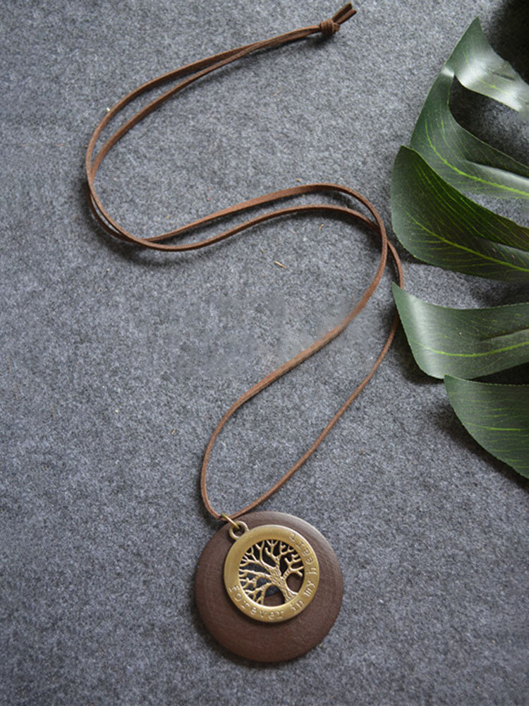 Alloy Wood Vintage Ethnic Chip Big Tree Long Necklace Sweater Chain