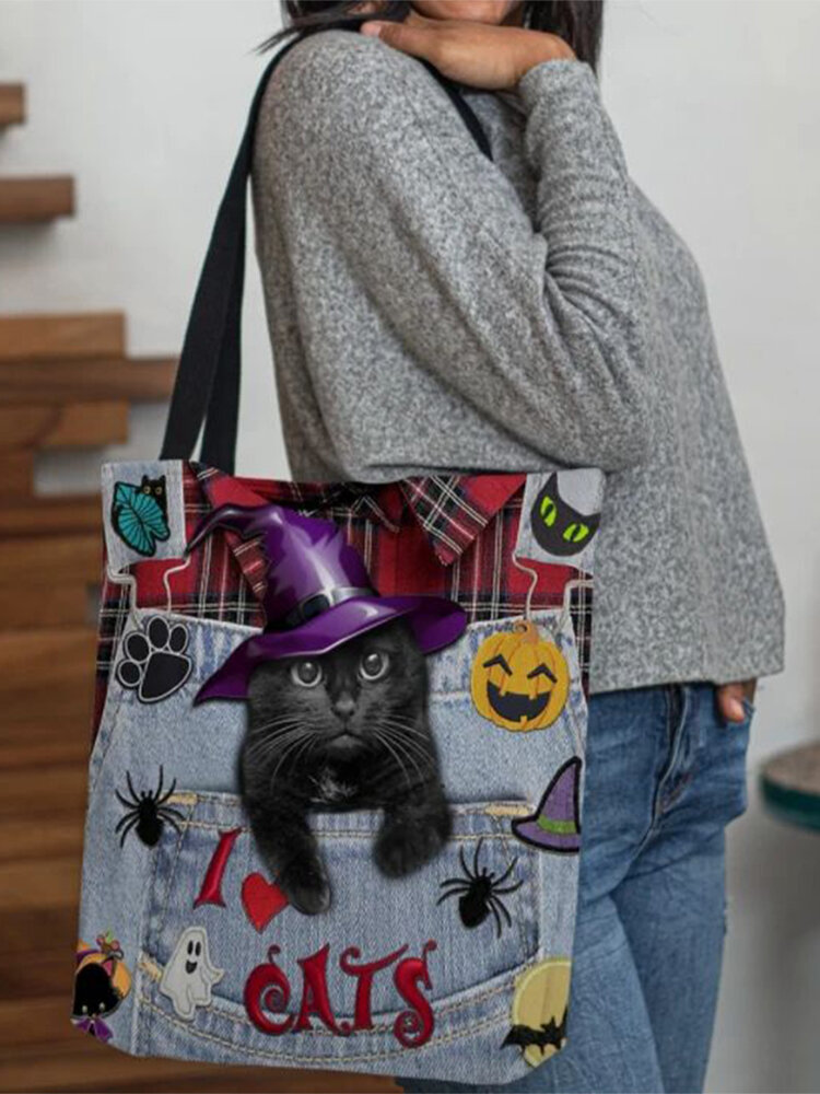 Women Felt Magic Hat Cat Handbag Tote